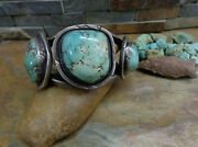 148g Wow Navajo Sleeping Beauty Turquoise Sterling Cuff Native Old Pawn Harvey