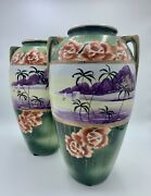 """Antique Pair Of Large 12"""" Tall Double Handle Oriental Vases"""