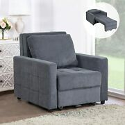Convertible Sofa Bed 2-in-1 Folding Sleeper Leisure Recliner Lounge Couch Pillow