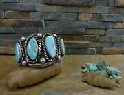 Magnificent 105g Navajo 4 Hi Grade Gem Turquoise Cuff Sterling Old Pawn Harvey
