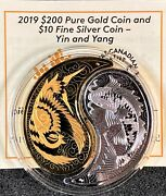 Canada 2019 Yin And Yang 200/10 Pure Gold And Silver Coins Low Mintage 288pcs