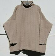 Eskandar Natural Cotton Cable Knit Mid Weight 34 Long Monk Neck Sweater