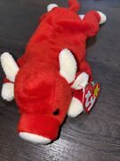 Ty Beanie Baby Red Snort The Bull Plush Toy - Good Condition With Tag