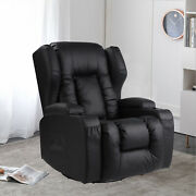 Faux Leather Rocker And Swivel Recliner Chair Glider Living Room W/cup Holders