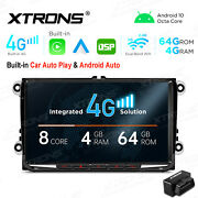 For Vw 9 Android 10 8-core 4+64gb Car Stereo Radio Gps Car Auto Play 4g Lte+obd