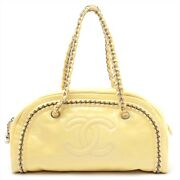 Luxury Patent Leather Chain Bag Yellow Silver Previously Owned No.6142