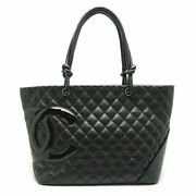 Cambon Tote Bag Large Razor Black Inner Pink Previously Owned No.7721