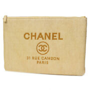 Deauville Clutch Bag Porch Yellow Silver Fittings Canvas No.9058