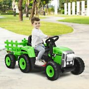 12v Ride On Tractor Ninos Coche Trailer 3 Gear Ground Loader Vehicle Toy Music