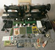 Vintage Singer Models 15-90,15k88 Sewing Machines Lot Of 2 And All Accessories