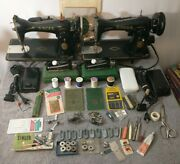 Vintage Singer Models 15-9015k88 Sewing Machines Lot Of 2 And All Accessories