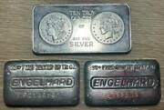 Three 10 Ounce Silver Bars Engelhard Poured Loaf And Standard Mint Stamped Ten Oz