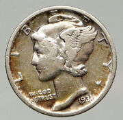 1931 D United States Mercury Winged Liberty Head Dime Silver Coin Fasces I91855