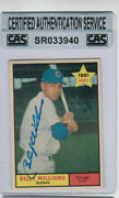 1961 Topps Billy Williams Signed Rookie Card 141 Rc Cubs Legend Hof C.a.s. Coa