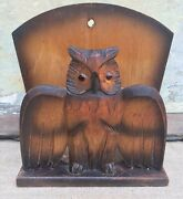 Antique Carved Wooden, Black Forest Style Owl With Glass Eyes Letter Holder