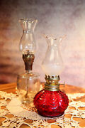 Vintage Pair, All Glass Red And Clear Miniature Hurricane Oil Lamps. 9  B74-6-29