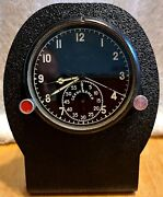 Vintage Mig Clock Panel Soviet Military Aviation Ussr W/ Stand - Free Shipping
