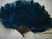 Gorgeous,antique,hand Fan,royal Blue Ostrich Feather,and Faux Tortoise,so Pretty