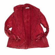 Testimony Los Angeles Red French Terry Ruched Sleeve Cardigan Jacket Size Large