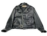 Schott 618 1970and039s Vintage Black Riders Motorcycle Leather Jacket Xl-48