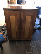 Pottery Barn Wine And Home Bar Cabinet W/ Hammered Copper Accents - Excellent Cond