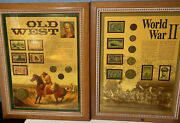 Set Of 2 Framed Old West, World War Ii Stamps And Coins 2002, 2003 Collectible