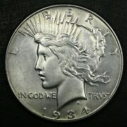 1934 1 Peace Silver Dollar Au+ Rare Old Coin Free Combined Shipping A1