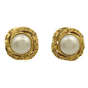 Coco Mark Pearl Earring Cc Round Camellia Gp Gold Ivory No.7260