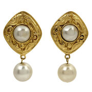 Pearl Earring Swing Diamond Gp Gold White Women And039s Previously No.7301