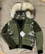 Balmain Menand039s Green Hooded Canvas Suede Down Jacket Size Xxl 7400 Fits Like L