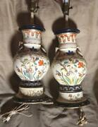 Antique Asian Oriental Lamps Pair Of Two 2 Chinese Art Pottery Vases Urns Set