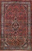 Vintage Geometric Hamedan Hand-knotted Area Rug Wool Oriental Foyer Carpet 5and039x7and039