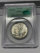 1944-d Pcgs Ms65 Cac Ogh Walking Liberty Half Dollar Silver Pq Old Green Holder
