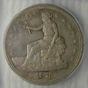 1875 S Silver Trade Dollar Icg Au 50 Minute S Br5795, Wow Great Coin
