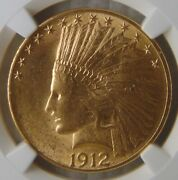 1912 Indian Head Gold Eagle 10 Coin 1/2 Oz. Ngc Ms62