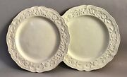 Plates X 2, Faience Fine, White, Floral Molded Border, C.1760. France, Rococo.