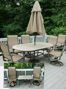 Woodard Landgrave Patio Set With 2 Tables And 8 Chairs W/ Umbrella And Stand