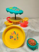 1970 Fisher Price Little People 726 Patio Umbrella Table Pool Chairs Grill