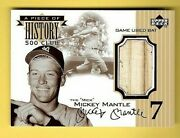 Mickey Mantle 1999 Upper Deck History 500hr Club Game Used Bat Relic Yankees