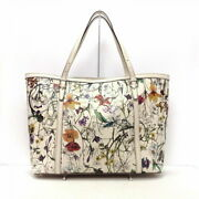 Nice Flora Tote Bag Ivory Green Multi Razor Previously Owned No.8804