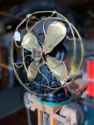 """Antique Robbins And Meyers 12"""" Brass Blade And Cage Electric Fan"""