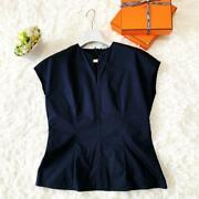 Hermes Cotton Blouse With Goods Tops Navy Free Shipping No.6726