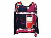 Hermes Geometric Patterns Knit Switching Tops Silk Wool Navy Pink And No.7290