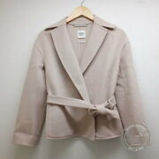 Hermes Cashmere With Belt Short Coat 36 Pink Women And039s Previously Owned No.5996