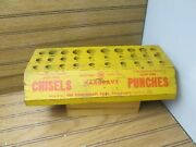 Vintage Store Counter Tool Display Hargrave Chisels And Punches Solid Wood