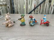 Antique Vintage Tin Litho Wind Up And Friction Toys Lot Occupied Japan As Is