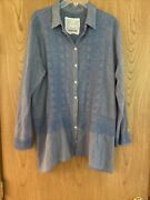 Johnny Was 3j Workshop Xl Long Sleeve Blue Button Down Embroidery 100 Cotton