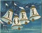 Vintage Christmas Mid Century Blue White Gold Ornaments Bells Noel Greeting Card