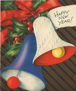 Vintage Christmas Embossed Blue White Bells Red Bow Holly Berries New Year Card