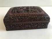 Antique Chinese Detail Hand Carved Red Cinnabar Lacquer Box 5 1/2 X 4 X 2 H